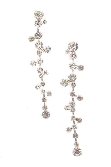 Image of CRISTABELLE Round Crystal Cluster Linear Drop Earrings