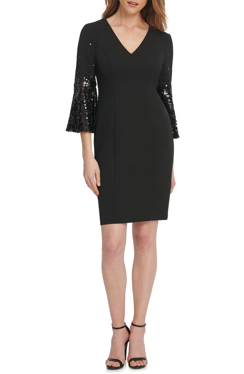 VINCE CAMUTO Sequin Flare Sleeve Cocktail Dress, Main, color, 001