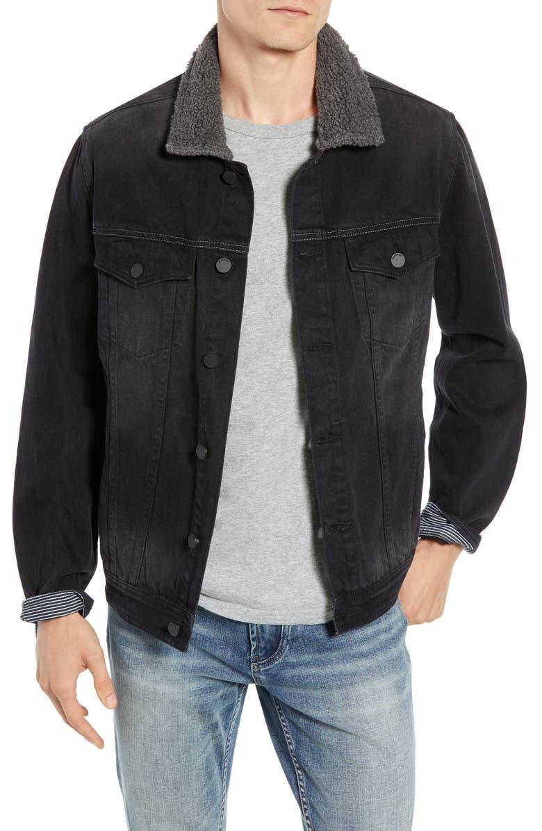 BLANKNYC Fleece Collar Denim Trucker Jacket, Main, color, 001
