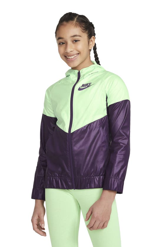 Nike Sportswear Kids' Windrunner Water Repellent Hooded Jacket In Vapor Green/ Grand Purple