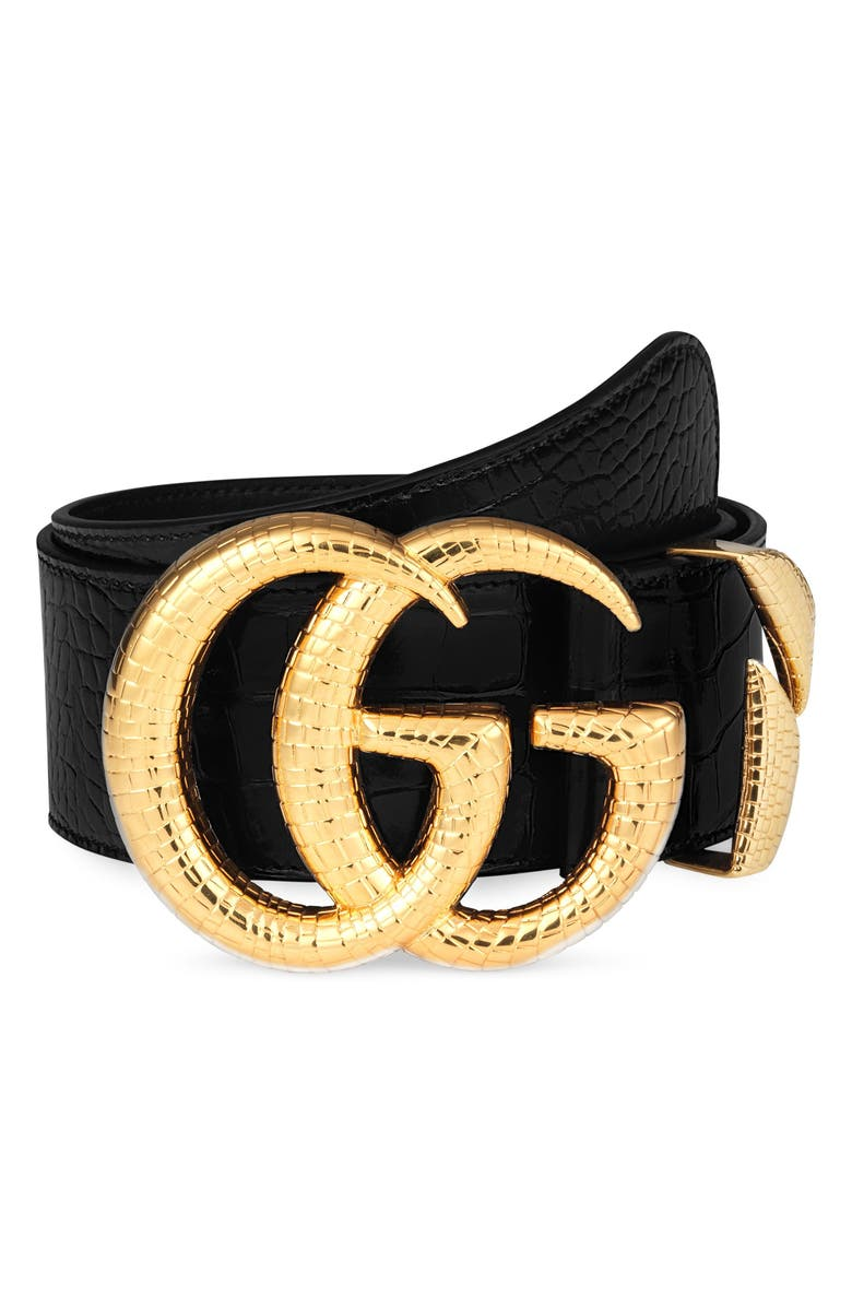 GUCCI GG Marmont Lizard Buckle Leather Belt, Main, color, NERO