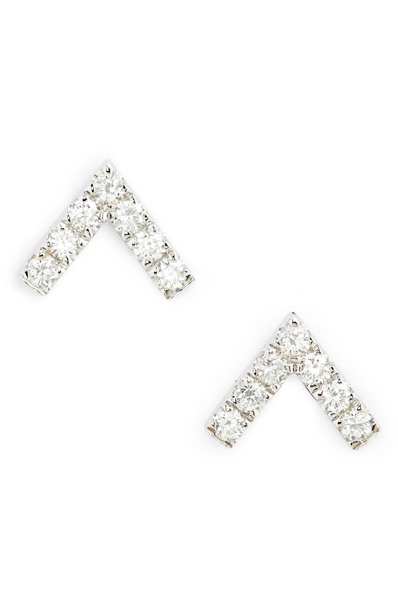EF COLLECTION Chevron Diamond Stud Earrings, Main, color, WHITE GOLD/ DIAMOND
