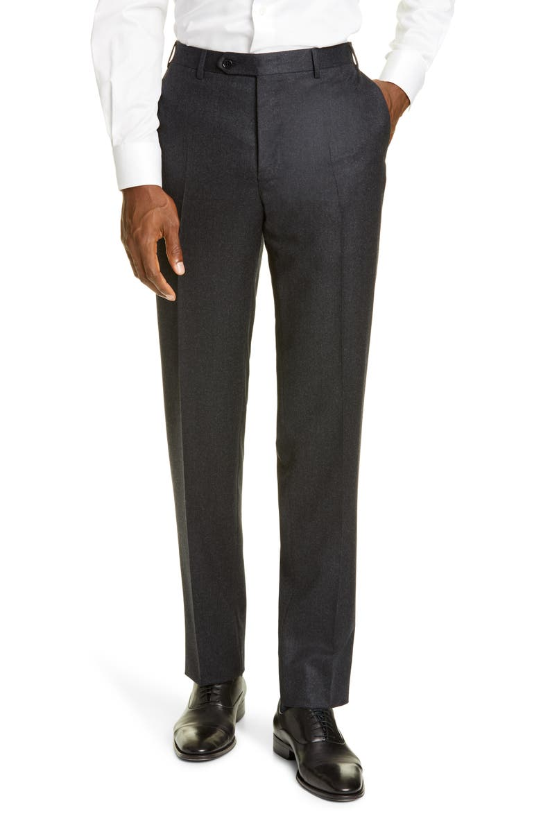 CANALI Flat Front Flannel Wool Trousers, Main, color, CHARCOAL