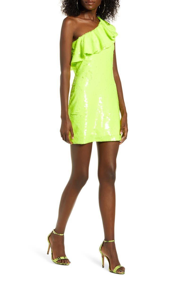 LEITH Sequin Ruffle One-Shoulder Sheath Dress, Main, color, GREEN SORBET NEON