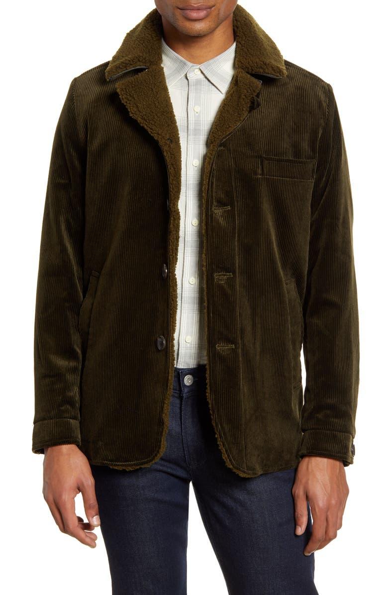 OLIVER SPENCER Brockwell Slim Fit Corduroy Cotton Jacket, Main, color, KINGSLEY CORD GREEN