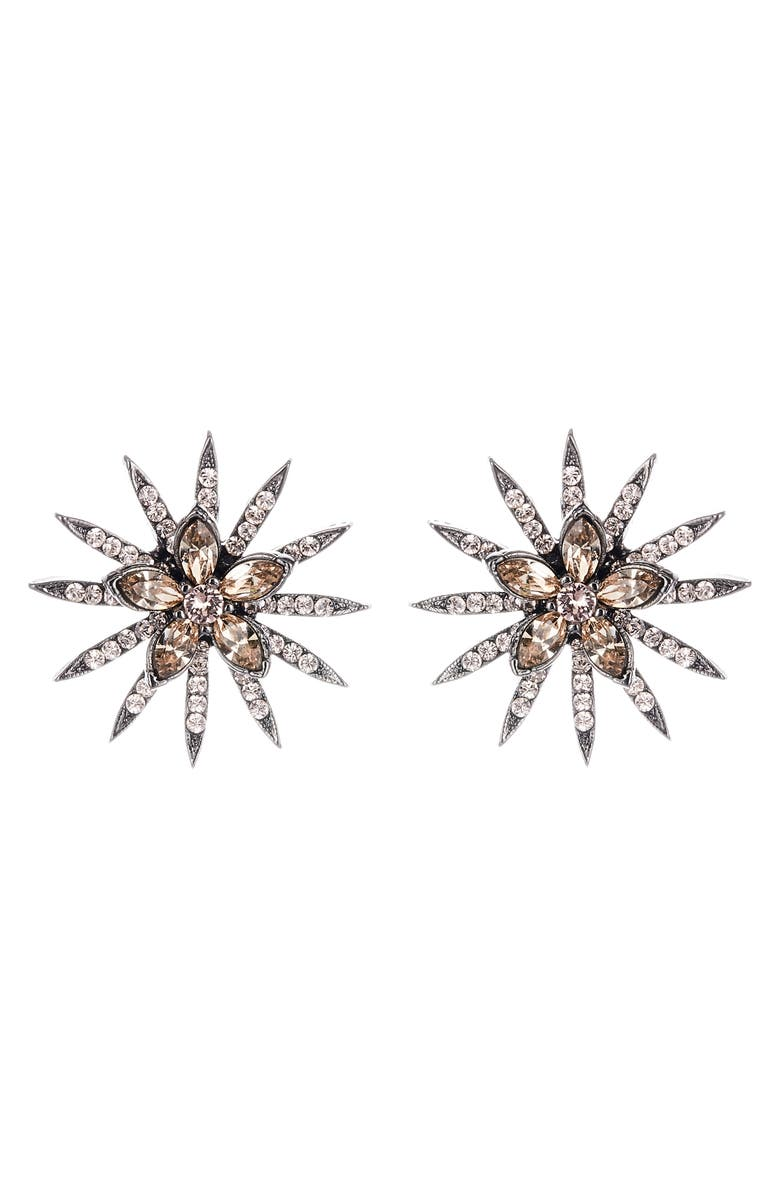 OSCAR DE LA RENTA Runway Pavé Stud Earrings, Main, color, SILK