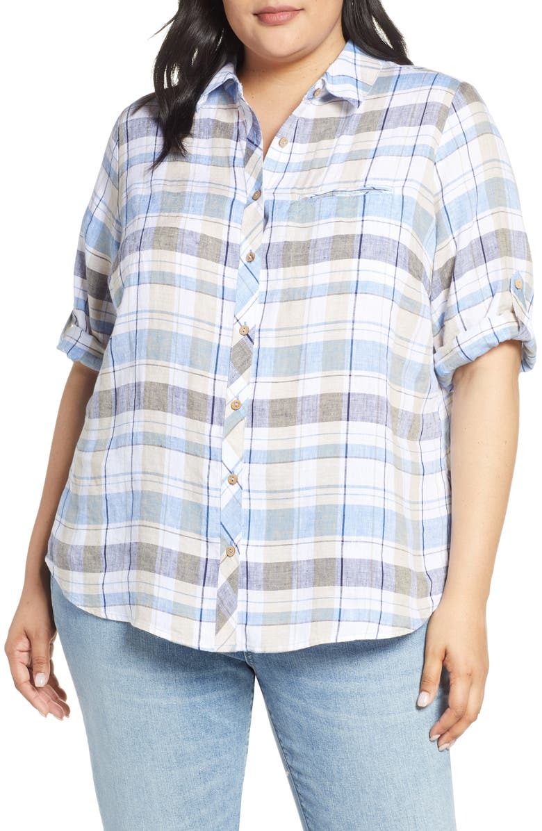 FOXCROFT Reese Plaid Linen Shirt, Main, color, 400