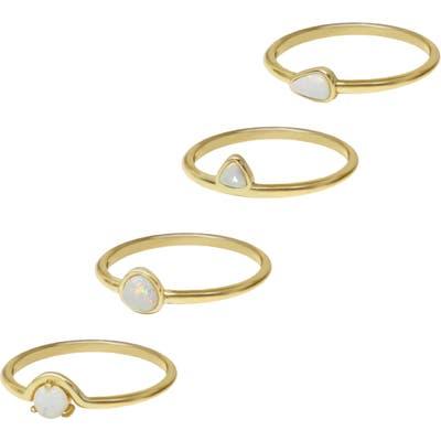Ettika Set Of 4 Opal Rings