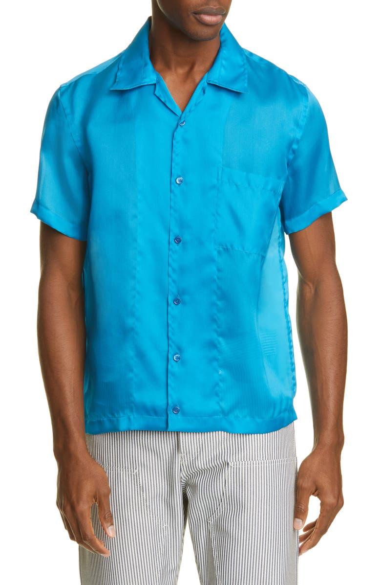 HELMUT LANG Slim Fit Silk Short Sleeve Button-Up Shirt, Main, color, TOPAZ