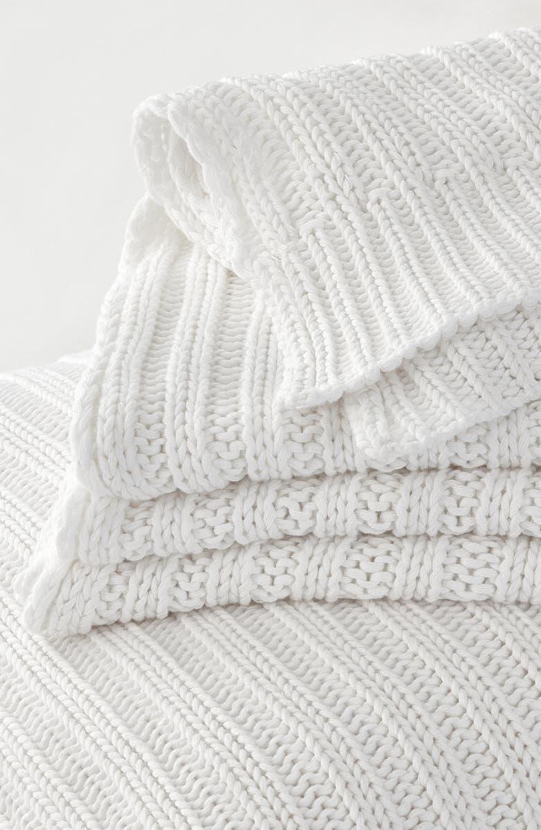 THE WHITE COMPANY Bailey Rib Throw Blanket, Main, color, WHITE