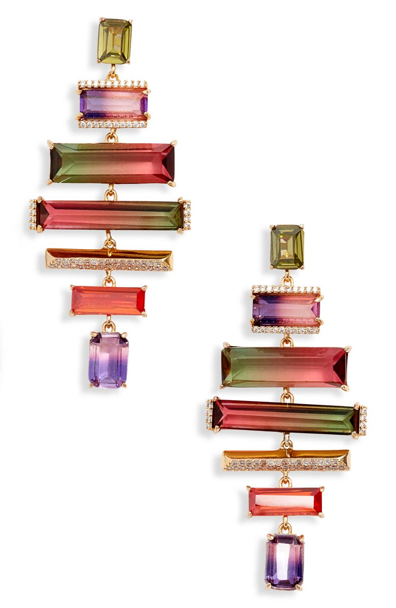 KATE SPADE NEW YORK geo gems statement drop earrings, Main, color, 650