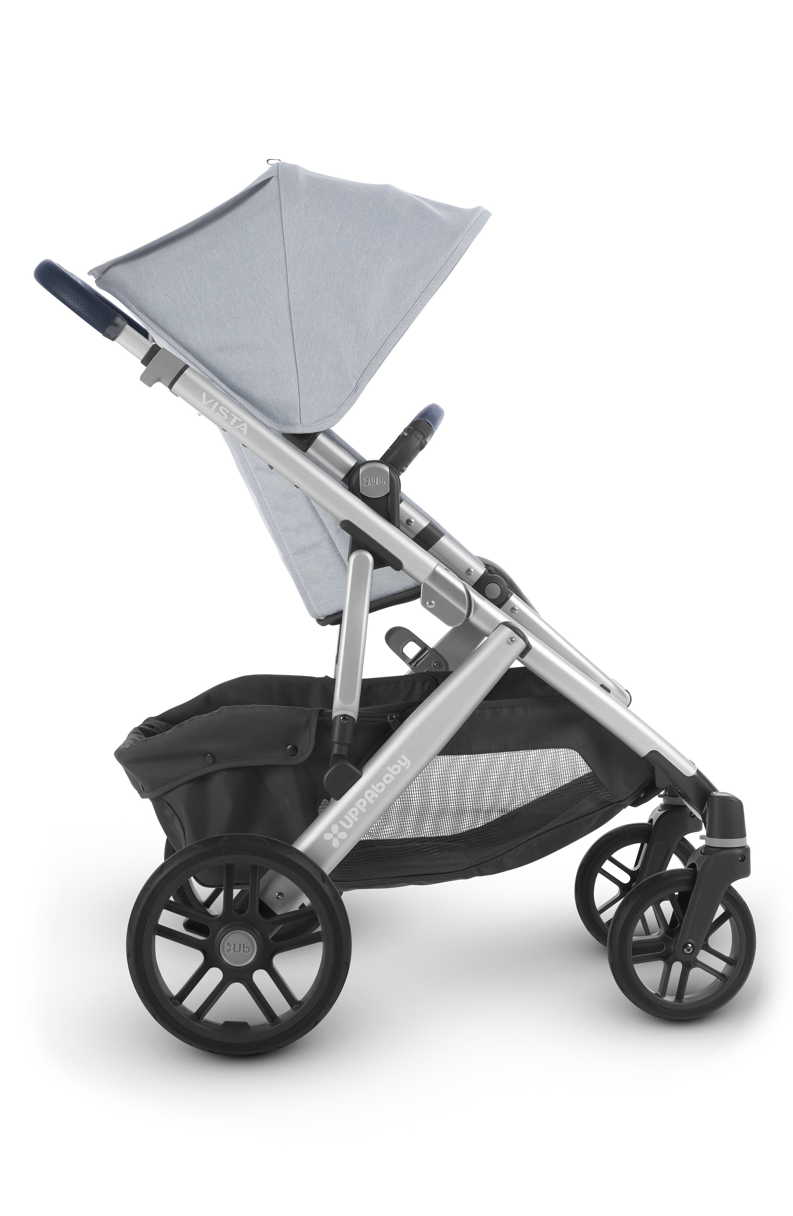 ,                             VISTA Aluminum Frame Convertible Complete Stroller with Leather Trim,                             Alternate thumbnail 3, color,                             WILLIAM BLUE/ SILVER