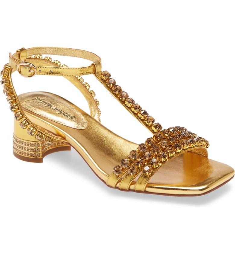 JEFFREY CAMPBELL Reyn Jewel T-Strap Sandal, Main, color, GOLD COMBO LEATHER