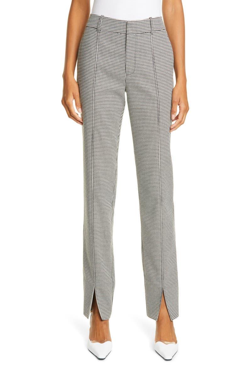JASON WU Front Slit Houndstooth Pants, Main, color, BLACK MULTI