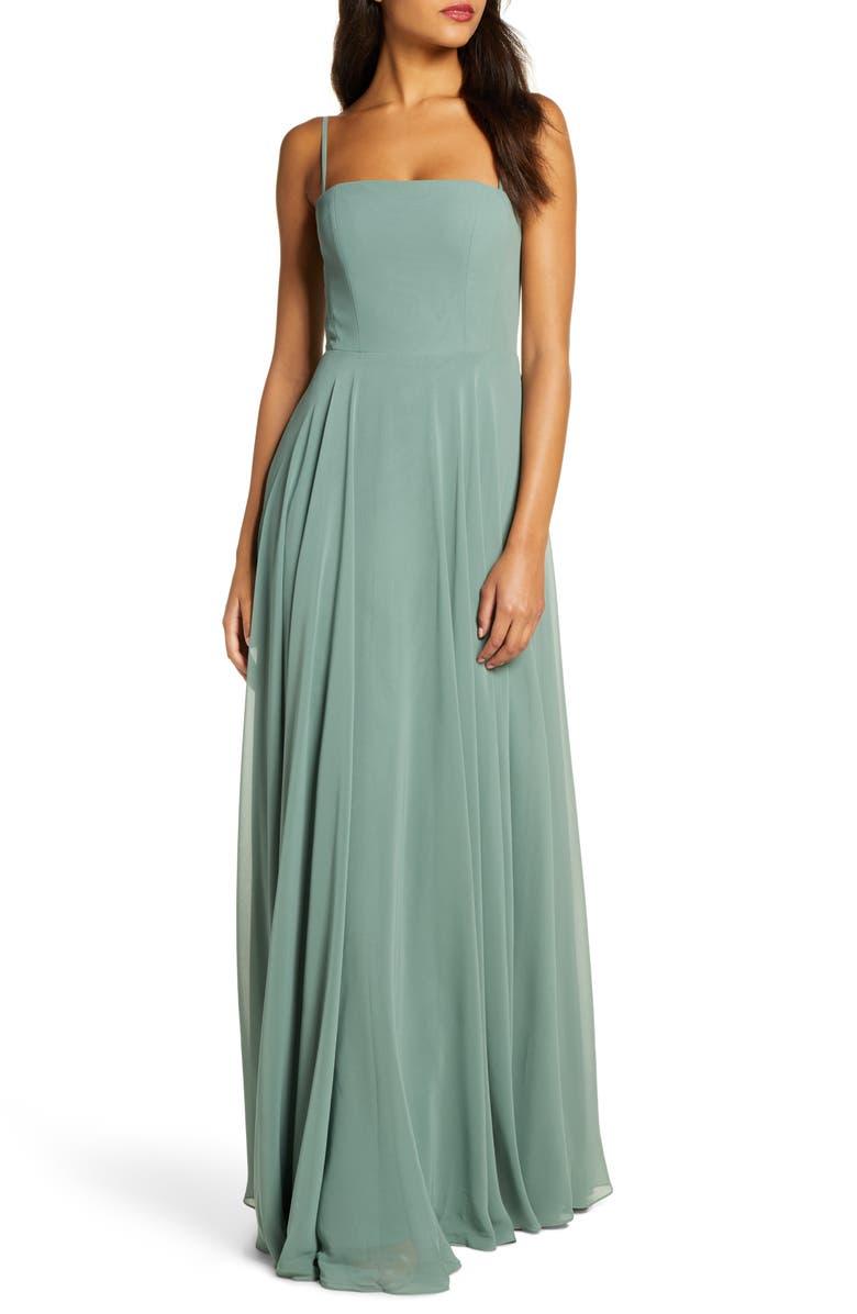 JENNY YOO Renee Chiffon Evening Dress, Main, color, EUCALYPTUS