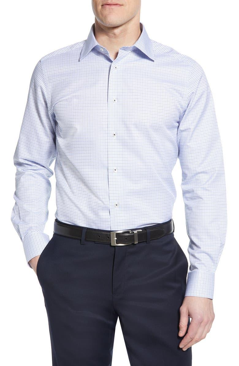 DAVID DONAHUE Luxury Non-Iron Trim Fit Check Dress Shirt, Main, color, WHITE/NAVY