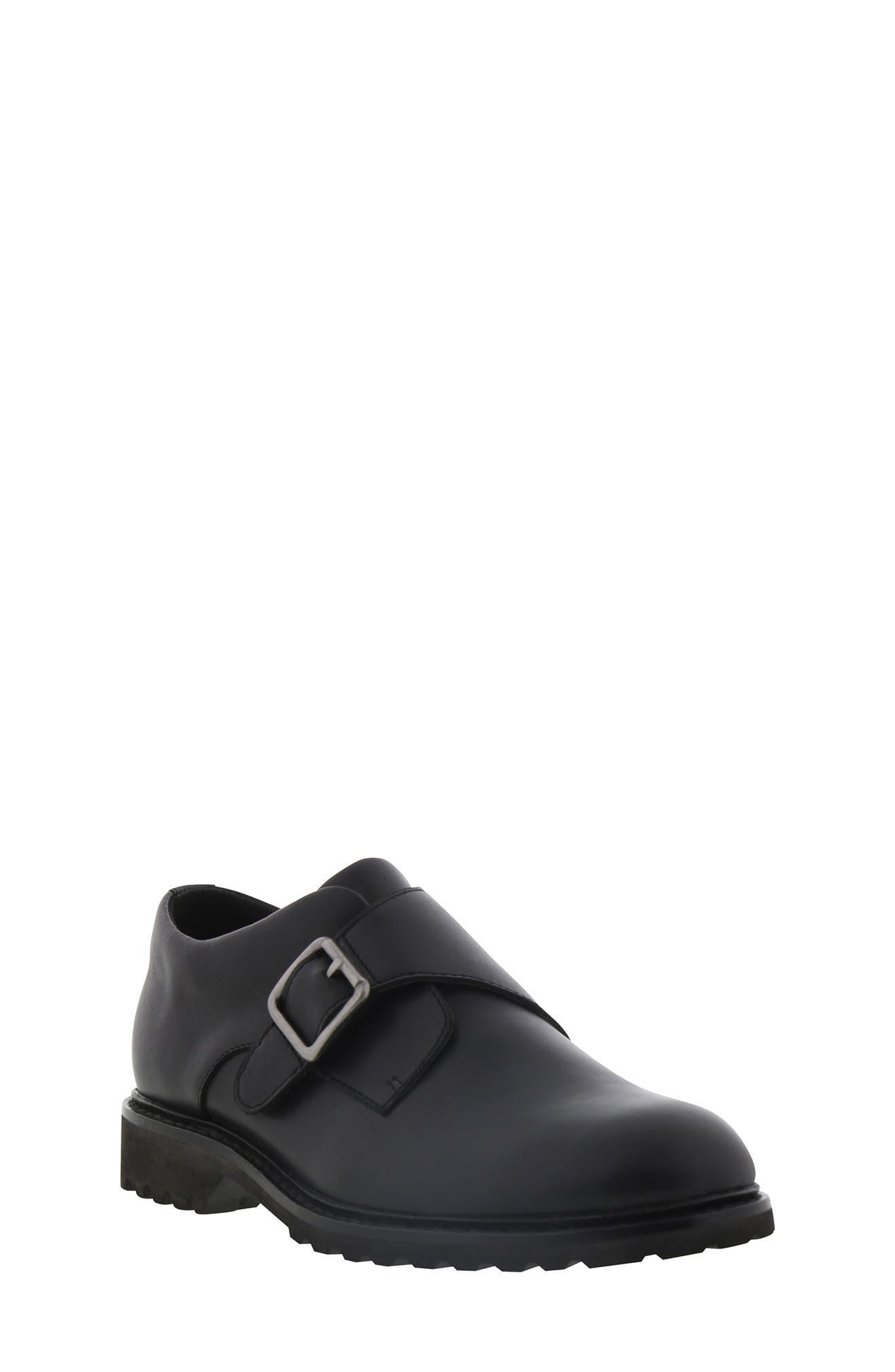 Boys Kenneth Cole Wing Monk Shoe Size 35 M  Black