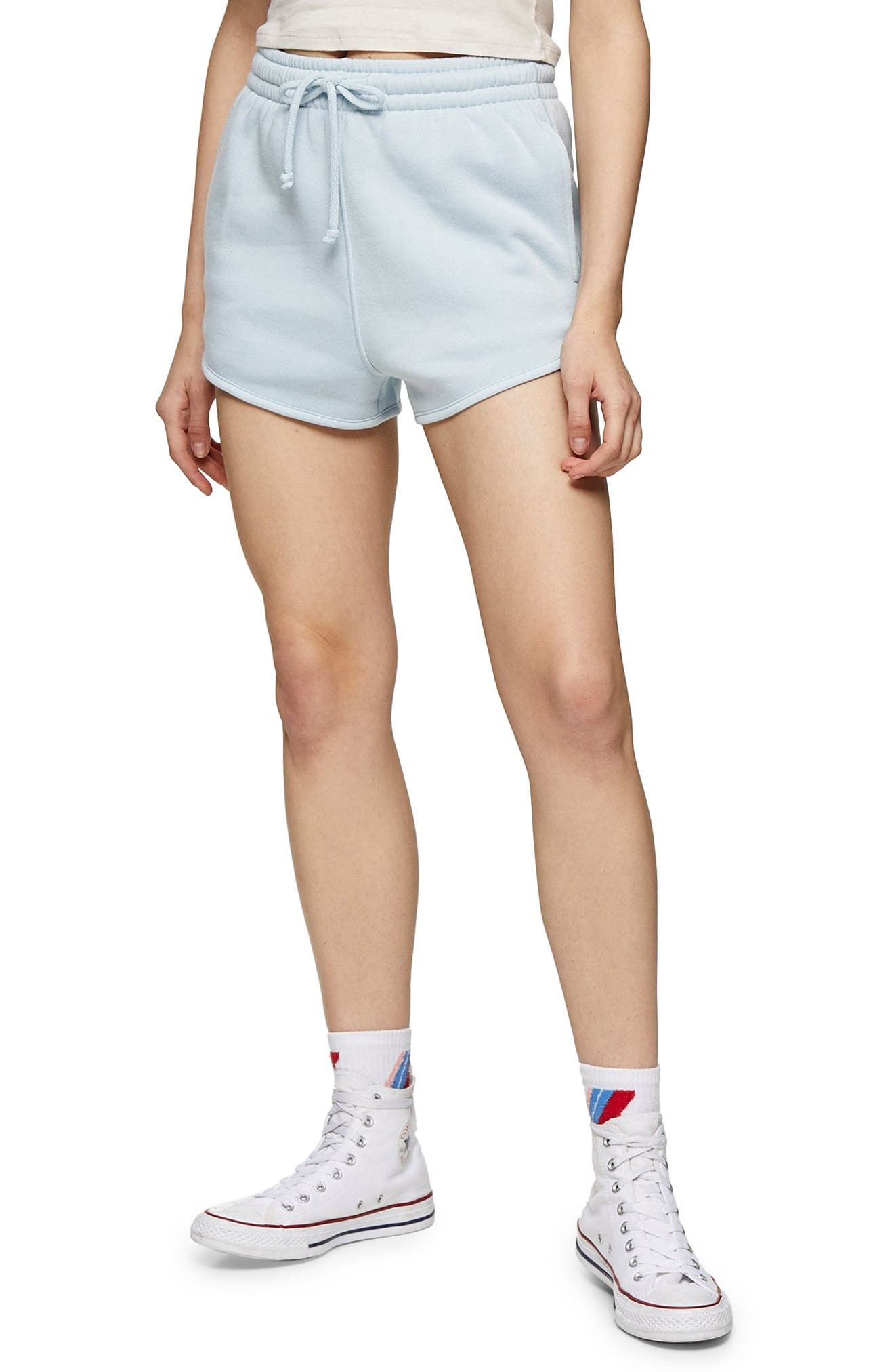 Women's Topshop '90S Runner Shorts,  6 US (fits like 2-4) - Blue