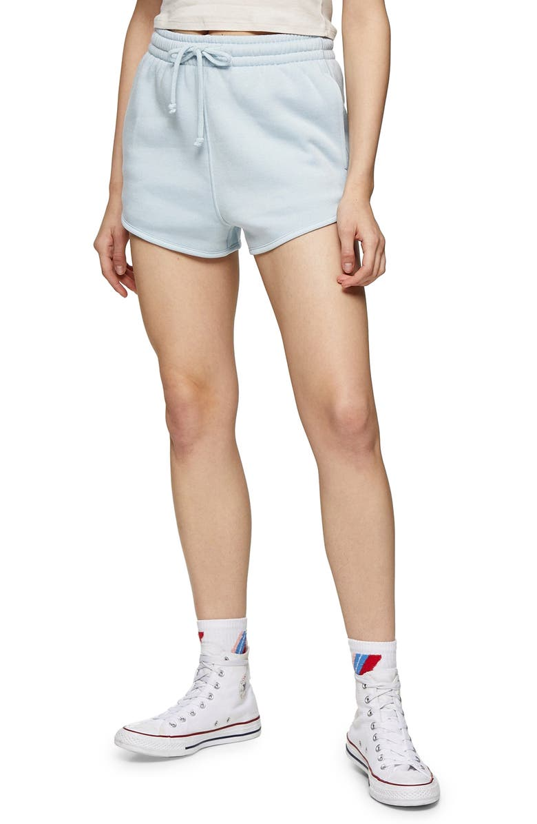 TOPSHOP '90s Runner Shorts, Main, color, LIGHT BLUE