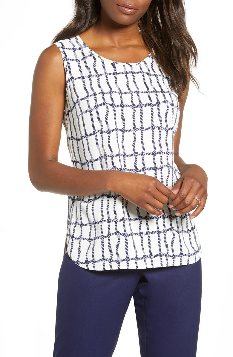 ANNE KLEIN Knot Grid Crêpe de Chine Tank Top, Main, color, ANNE WHITE/ ECLIPSE