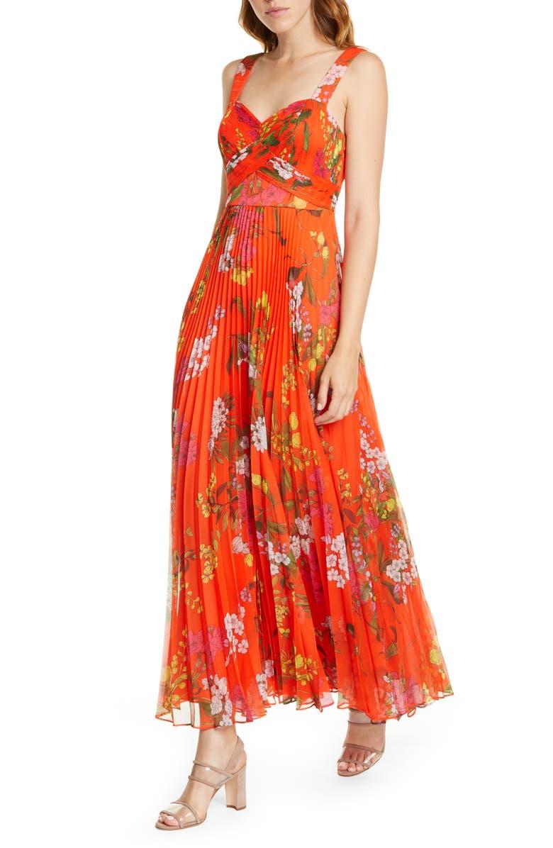 KAREN MILLEN Botanical Print Maxi Silk Dress, Main, color, 640