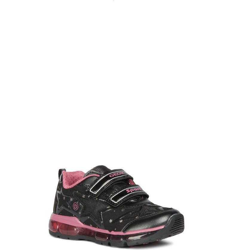 GEOX Android 24 Light-Up Sneaker, Main, color, BLACK/ FUCHSIA