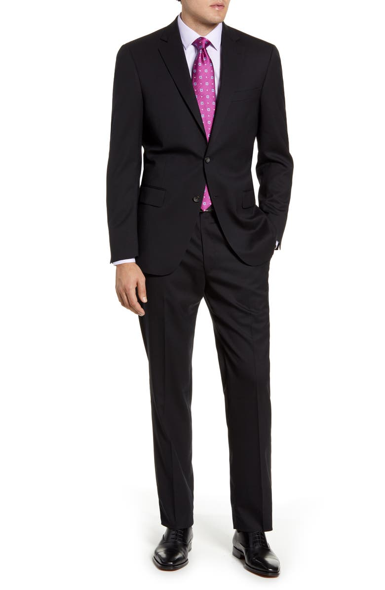 HART SCHAFFNER MARX New York Classic Fit Solid Stretch Wool Suit, Main, color, BLACK
