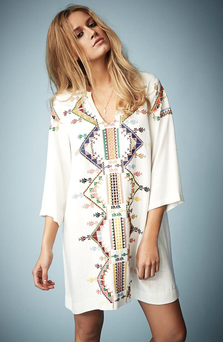 TOPSHOP Kate Moss for Topshop Embroidered Smock Dress, Main, color, 900