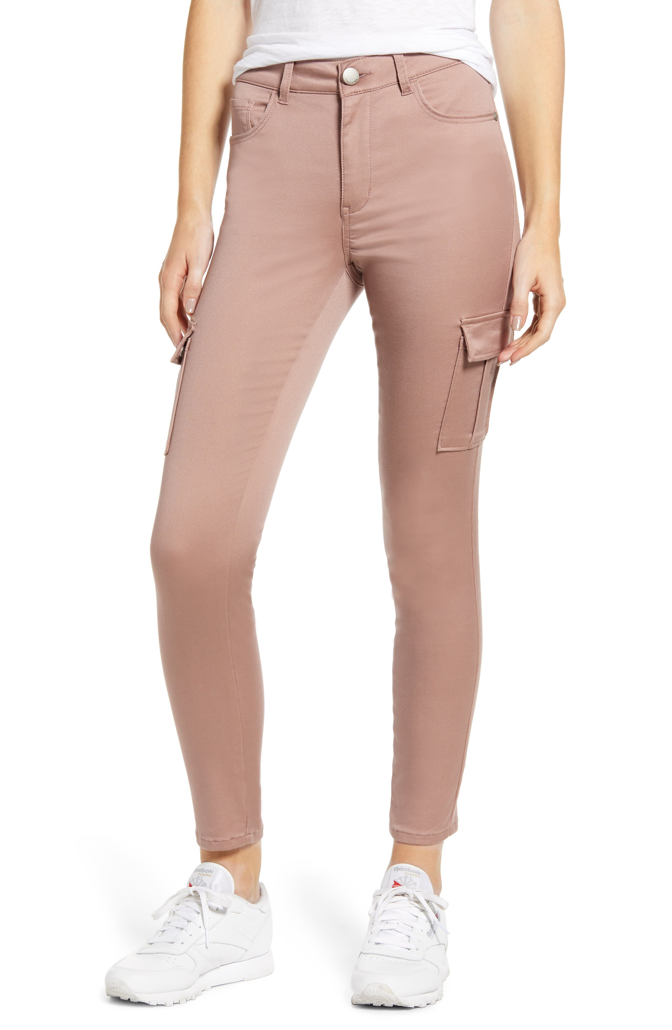 Tinsel Cargo Utility Skinny Pants, Pink