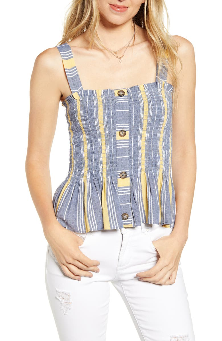 SOCIALITE Button Front Smocked Tank, Main, color, DENIM/ MUSTARD