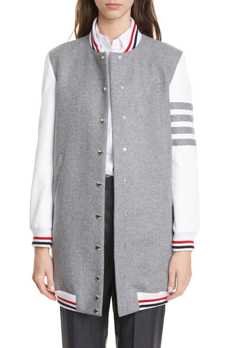 THOM BROWNE Elongated Wool & Leather Bomber Jacket, Main, color, MED GREY