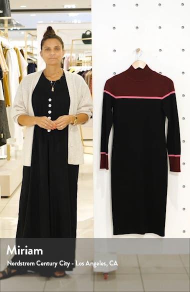 Colorblock Mock Neck Long Sleeve Sweater Dress, sales video thumbnail