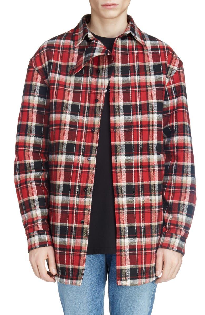 BALENCIAGA Plaid Cotton Shirt Jacket, Main, color, RED/ BLACK