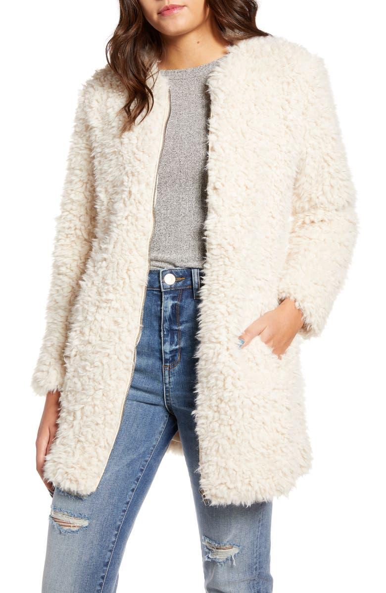 BB DAKOTA Soft Spot Faux Fur Coat, Main, color, TAN