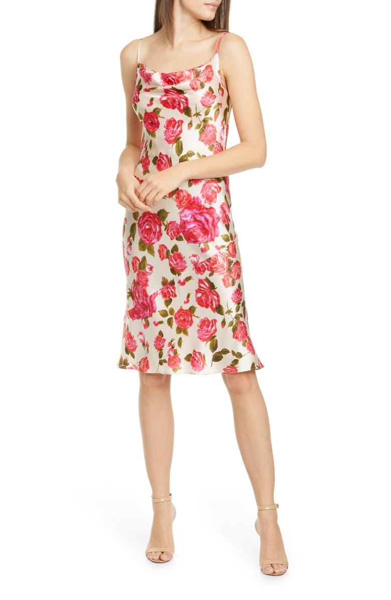 L'AGENCE Nyla Floral Cowl Neck Silk Dress, Main, color, 600