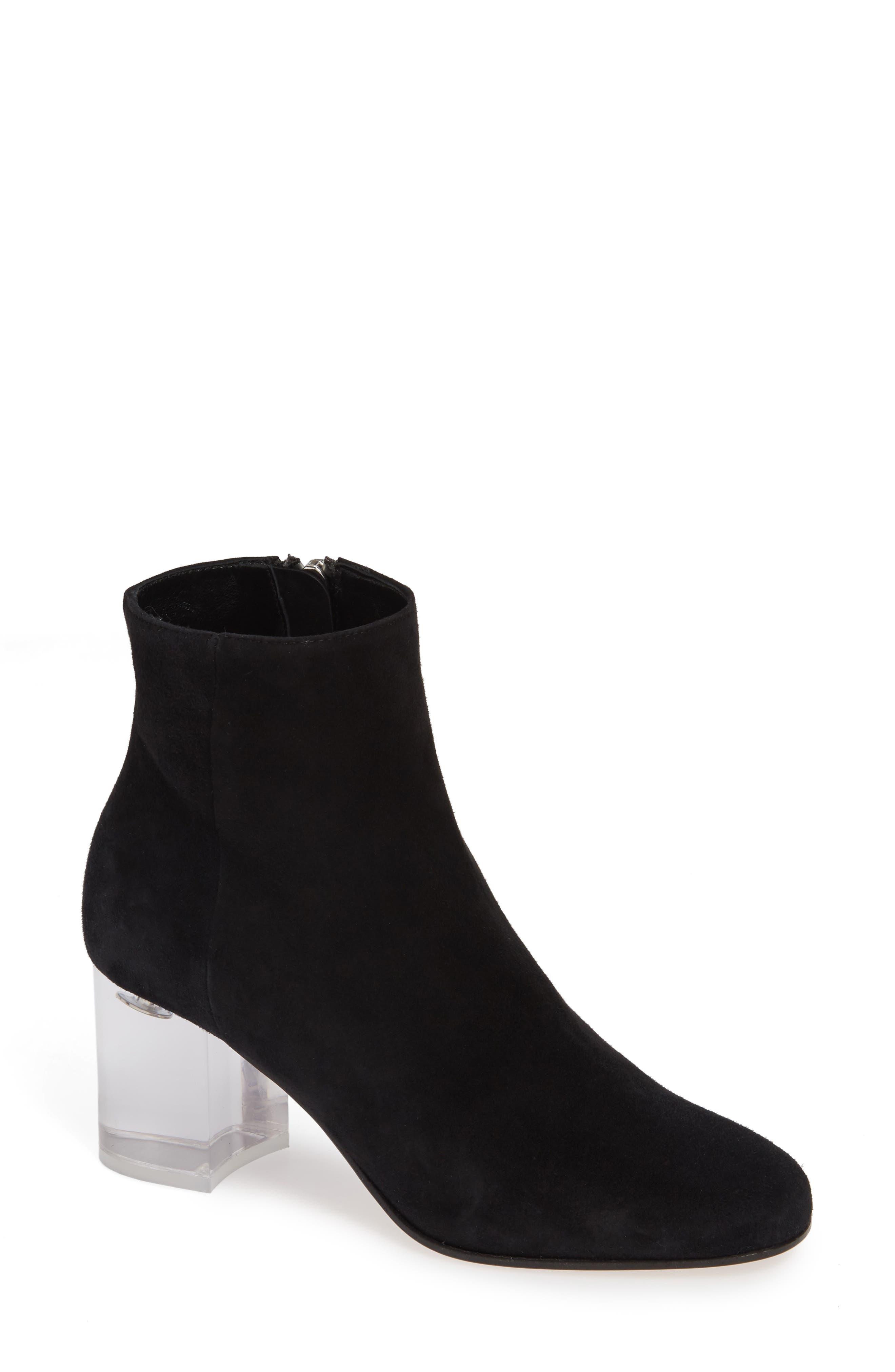 ,                             PVC Heel Bootie,                             Main thumbnail 1, color,                             BLACK SUEDE