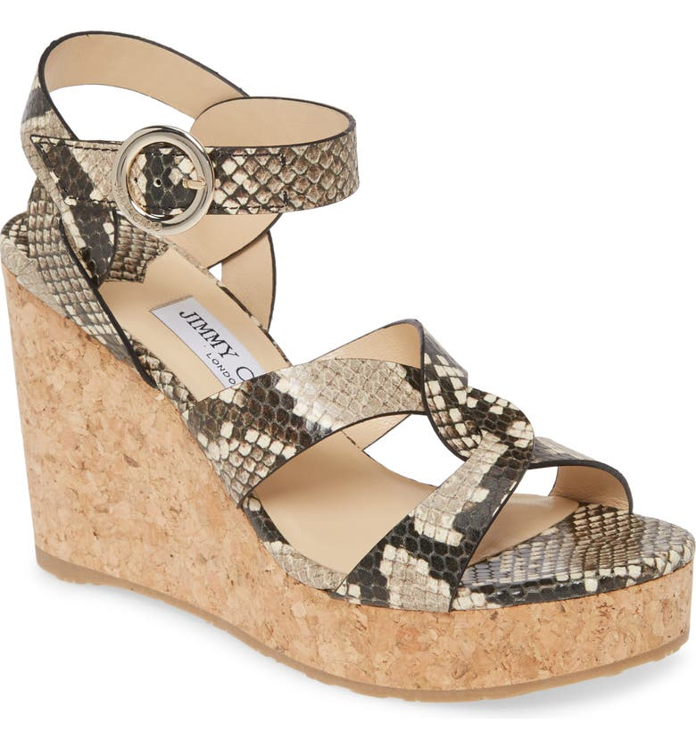 JIMMY CHOO Aleili Platform Wedge, Main, color, NATURAL/ SNAKE PRINT
