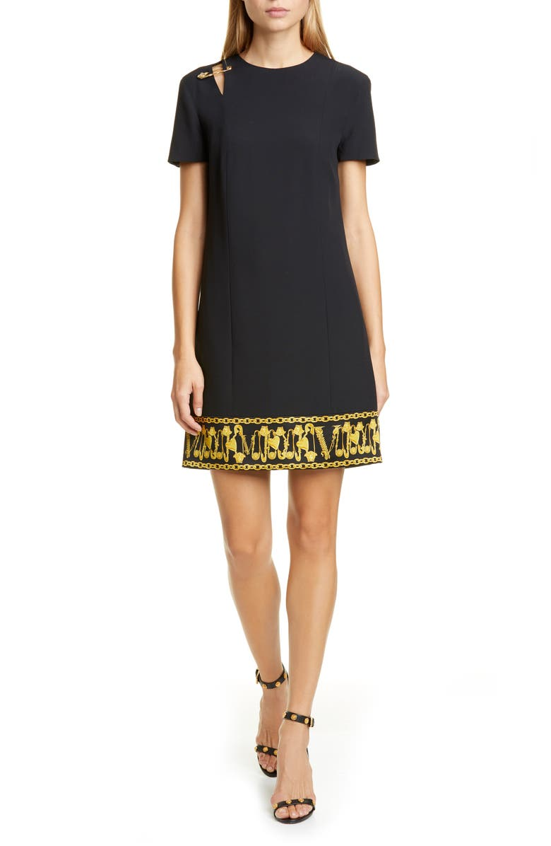 VERSACE Safety Pin Detail Crepe Shift Dress, Main, color, BLACK