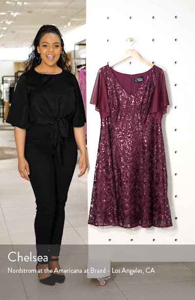 Flutter Sleeve Sequin Lace A-Lined Dress, sales video thumbnail