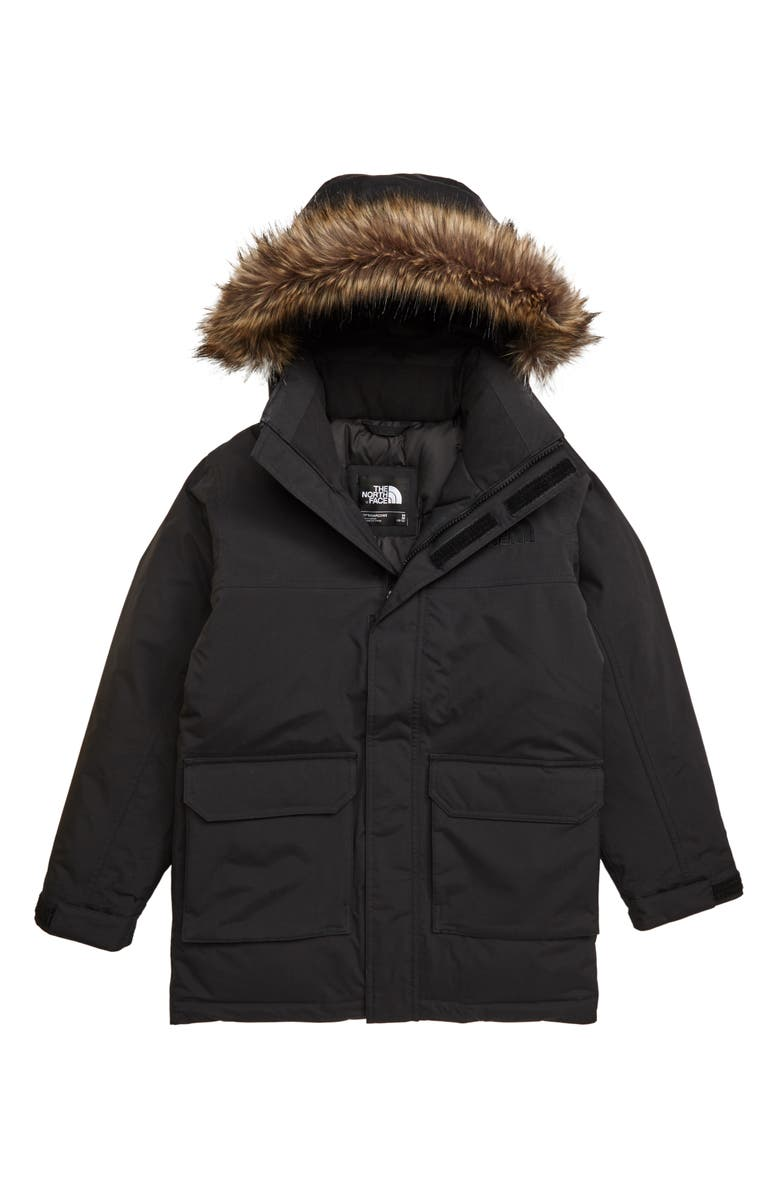 THE NORTH FACE Faux Fur Trim Down Parka, Main, color, TNF BLACK
