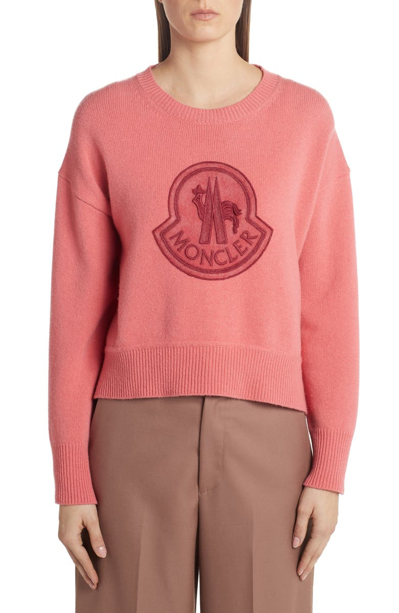 MONCLER Monochromatic Logo Sweater, Main, color, PINK