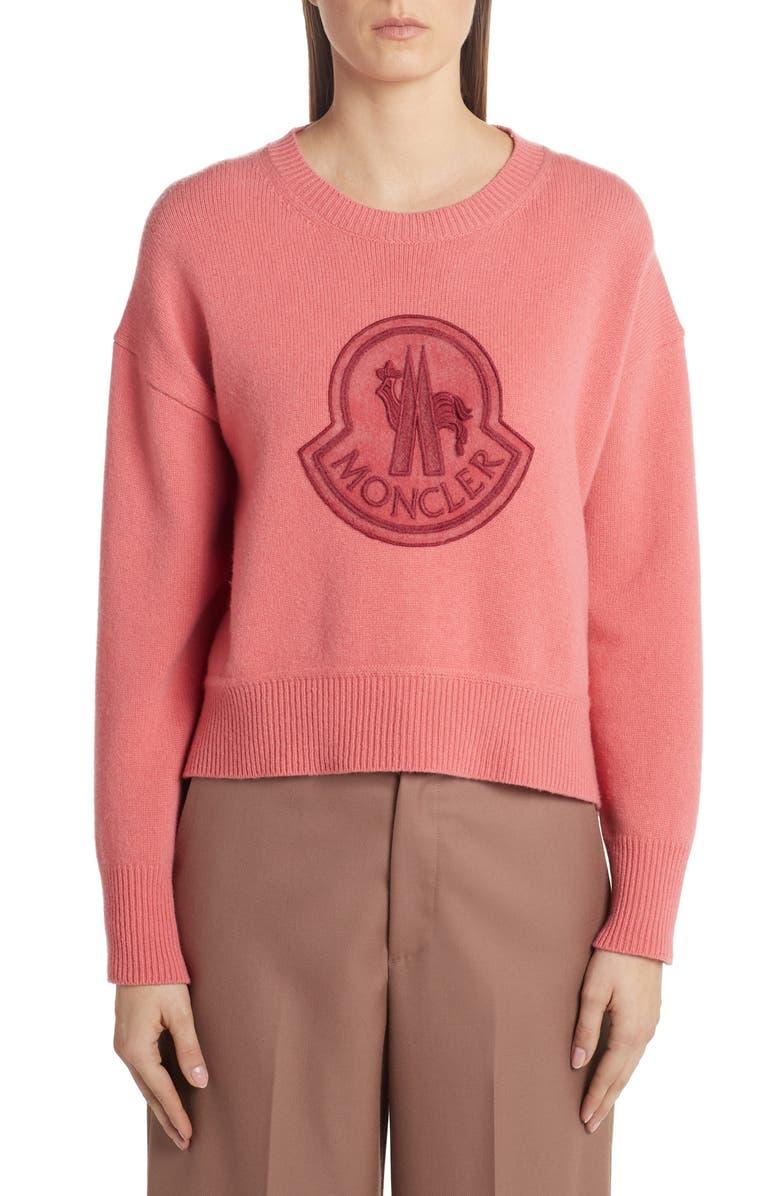 MONCLER Monochromatic Logo Sweater, Main, color, 600