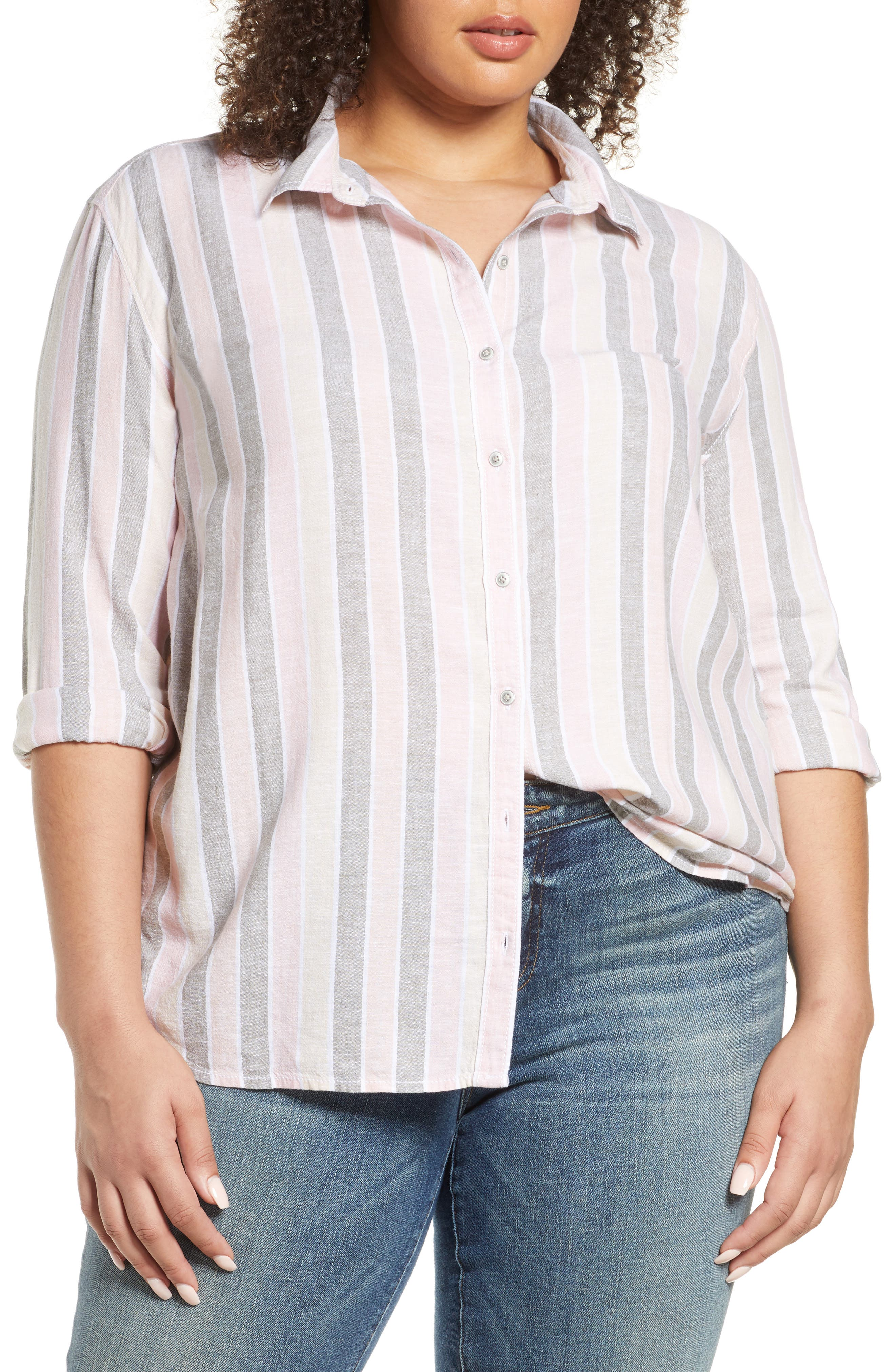 Image of Caslon Cabana Stripe Linen Blend Button Front Top