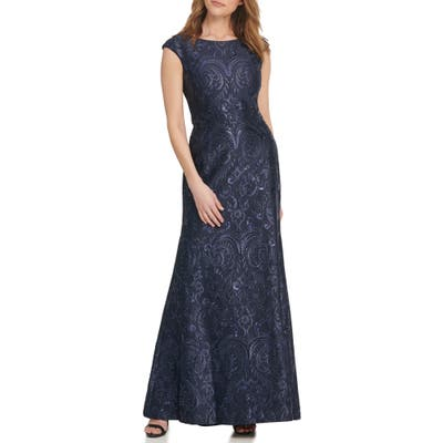 Vince Camuto Sequin Embroidered Trumpet Gown, Blue