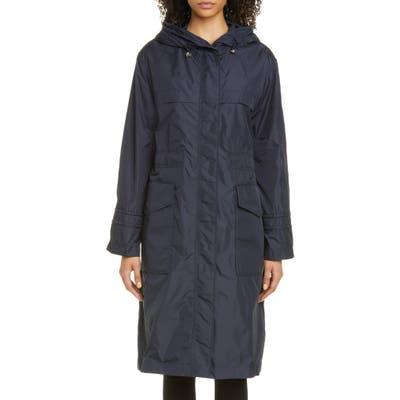 Moncler Ceruleum Longline Rain Jacket, (fits like 2-4 US) - Blue