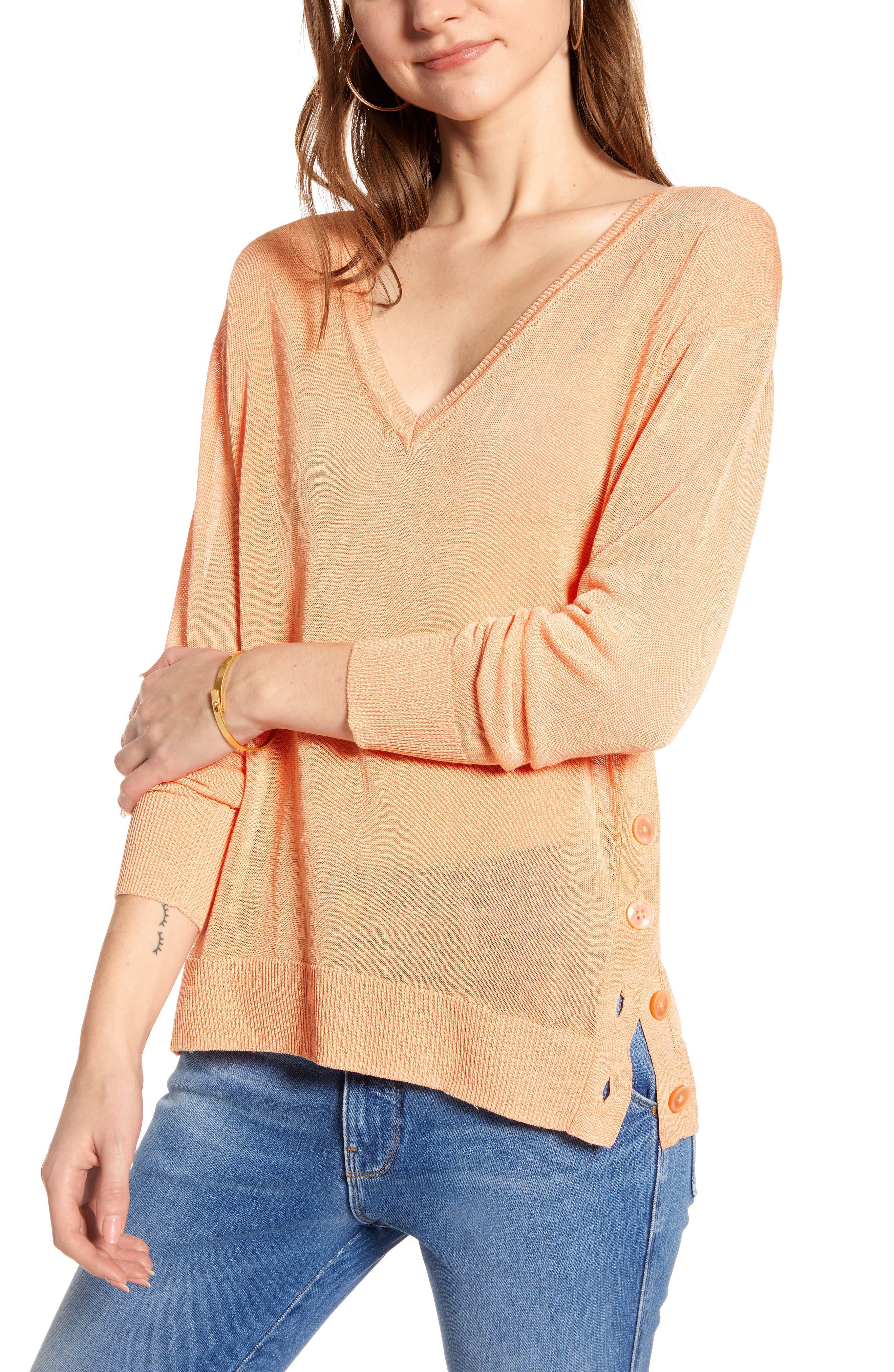 J.crew Side Button Linen Blend V-Neck Sweater, Coral
