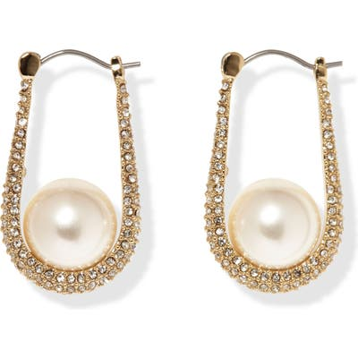 Vince Camuto Small Pave Imitation Pearl Hoop Earrings