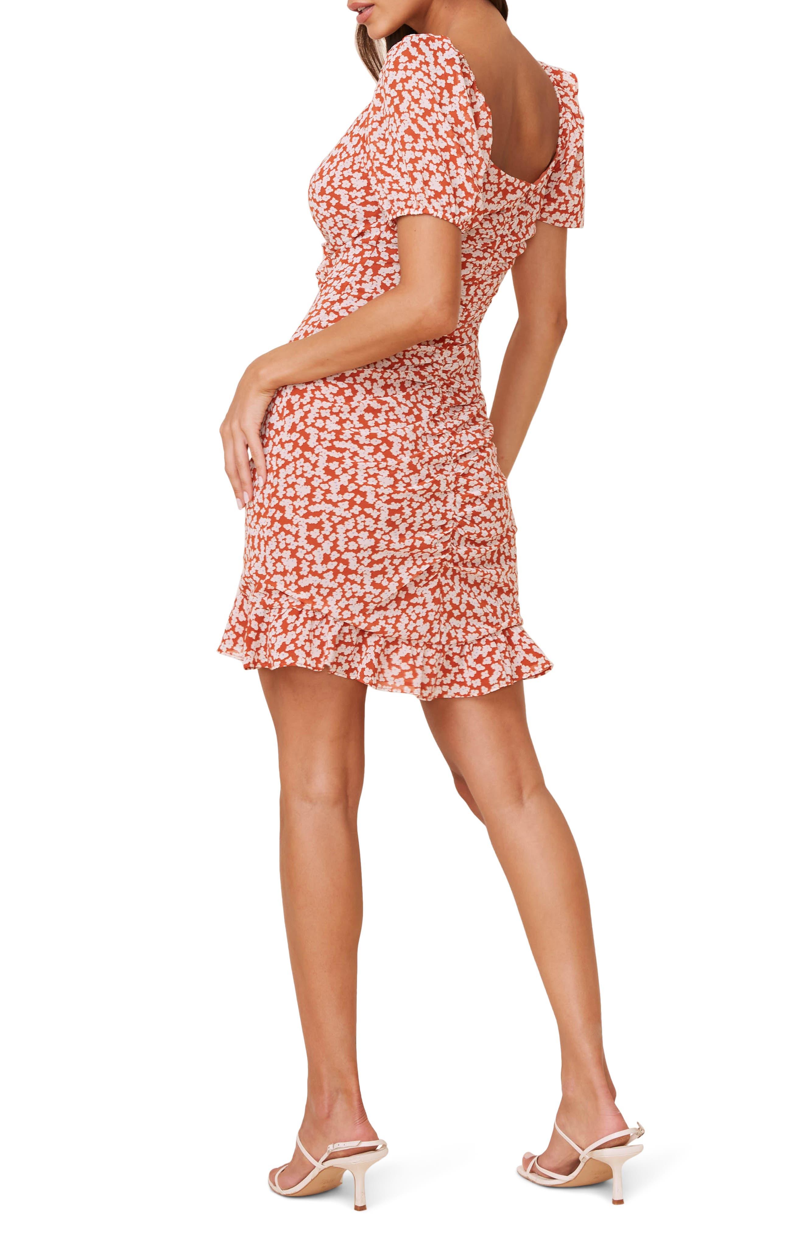 ASTR the Label Ruffle Trim Shirred Minidress