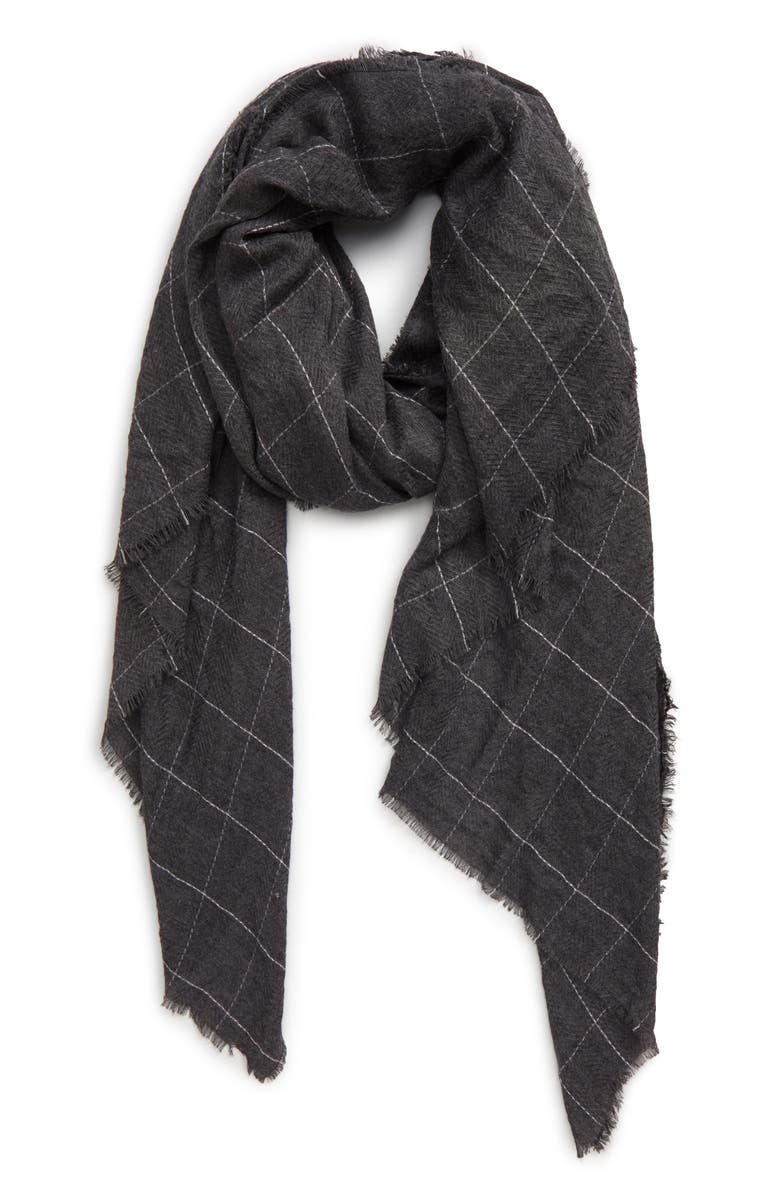 SOLE SOCIETY Lightweight Check Wool Blend Scarf, Main, color, CHARCOAL MULTI