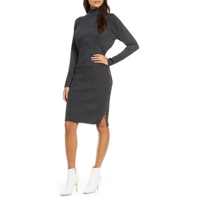 Eliza J Mock Neck Zipper Side Long Sleeve Sweater Dress, Grey